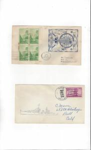 US Navy USS Henley DD 391, 2 Covers, Commission