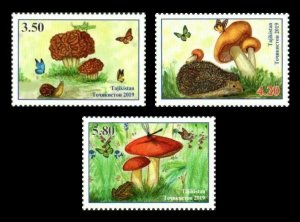 Tajikistan 2019 butterflies mushrooms frogs set of 3v MNH