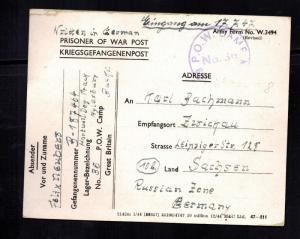 1947 Postwar Postcard Cover POW Camp 36 Aylsbury England to Germany Prisoner war