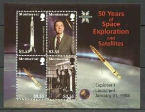 QQ132 2008 MONTSERRAT 50 YEARS OF SPACE EXPLORATION & SATELLITES 1KB MNH