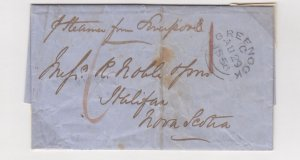1856 Draft payable Greenock to Nova Scotia prepaid sixpence Cunard Cambria