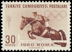 Turkey #1488-1492, Complete Set(5), 1960, Olympics, Soccer, Never Hinged