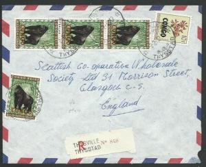CONGO 1962 Registered cover THYSVILLE to UK, Congo overprints..............59285