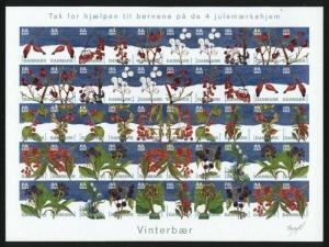 Denmark. Christmas Seal 2004 Mnh. Imperforated Sheet.Winter Berries.