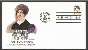 US # 1822 Dolley Madison Fleetwood FDC - I Combine S/H