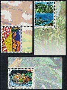 Fr. Polynesia Polynesian Artists 3v Small Corners SG#1077-1079 MI#1031-1033