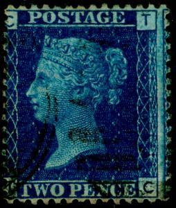 SG47, 2d dp blue plate 15, FINE USED. Cat £38. TC