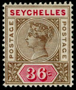 SEYCHELLES SG32, 36c brown & carmine, LH MINT. Cat £45.