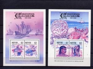 Nevis 1986 Sc#465/467 500th.Ann.Columbus 3 S/S Color Proofs Very Nice !!!