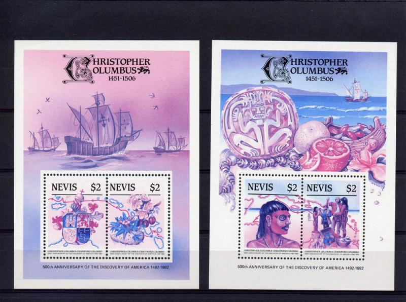 Nevis '86 500th.Disc.America 3 S/S Trial Color Sc.465/7 MNH