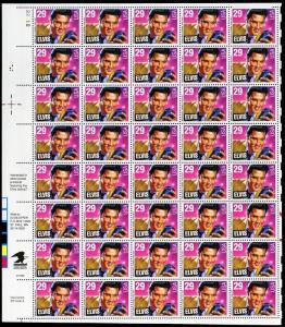 Elvis Presley Complete Sheet of Forty 29¢ Stamps Scott 2721 - Stuart Katz