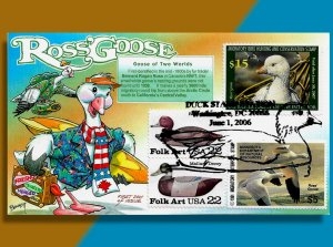 Ross' Goose Goes Surfing & Flies to Arctic Circle on 2006 Federal Duck Stamp FDC