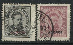 Azores overprinted 1882 5 reis perf 11 1/2 & 25 reis red violet used