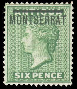 MONTSERRAT 1876 6p GREEN MINT #2 well-centered and HR CV$75.00 Gibbons #2 @