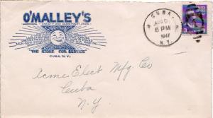 United States New York Cuba 1947 numeral duplex  Blue Illustrated corner card...