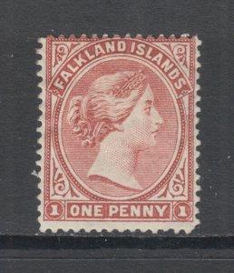 Falkland Islands Sc 7 MOG. 1886 1p Queen Victoria, wmk sideways, small thin