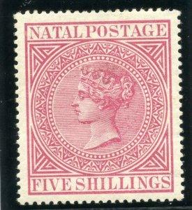 Natal 1899 QV 5s carmine (wmk sideways) MLH. SG 73.