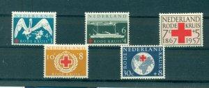 Netherlands - Sc# B311-5. 1957 90th Ann Dutch Red Cross. MNH $5.00.