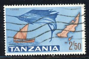 Tanzania #15 Sailfish, dhow and map of Mafia Island 2.50sh Dec. 9, 1965 used