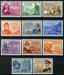 Norway 1947, Postjubilee set VF MNH, NK 359-369, Mi 323-333 cat 34€