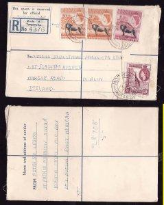 Tanganyika registered letter to Ireland - Moshi  , Tanganyika - 3 Ja 1958- regis