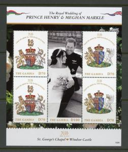 GAMBIA 2018 ROYAL WEDDING PRINCE HARRY & MEGHAN MARKLE SHEET OF FOUR MINT NH