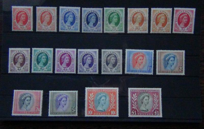 Rhodesia & Nyasaland 1954 set to £1 Complete MNH/MM