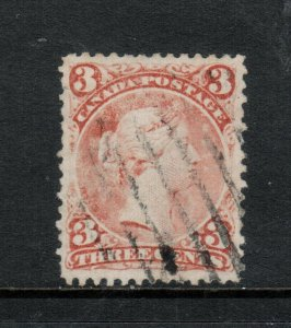 Canada #33 Very Fine Used On Laid Paper - Few Short Perfs & Abrasions On Front