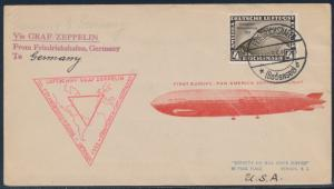 ZEPPELIN FLIGHT COVER (SIEGER #238cbb) GERMANY TO USA CV $810 BT163