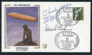 Chuck Yearger Autograph on German Zeppelin Cover - LZ 13 Anniv Flight   S475