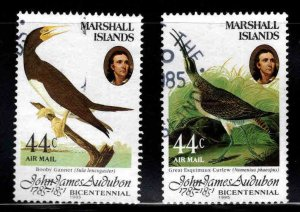 Marshall Islands Scott C1-C2 Used Audubon Bird Airmail stamp set