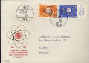SUISSE / SWITZERLAND / SCHWEIZ 1965 I.T.U. Centennial Congress Mi.823/4 FDC