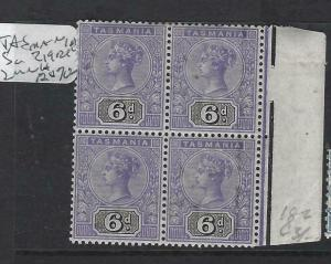TASMANIA  (P0103B)   QV 6D  SG 219 BL OF 4,  2  MNH , 2 ALMOST MNH   WOW