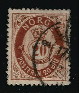 Norway 1877 Sc #27 F-VF Used Cat $20...Great Value!