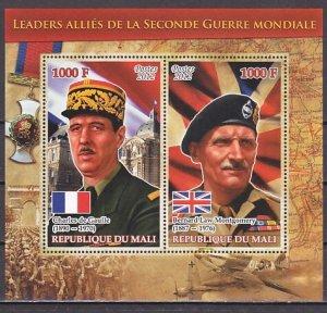 Mali, 2012 issue. War Leaders. C. De Gaulle & B. Montgomery s/sheet. ^