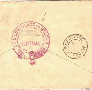 Guatemala Cover CONSULAR MAIL Belgian Consulate Egypt Stationery 1894 SV3