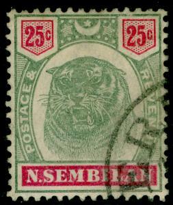 MALAYSIA - Negri Sembilan SG13, 25c green & carmine, FINE used. Cat £100.