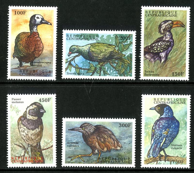 CENTRAL AFRICA 1315-20 MNH SCV $8.50 BIN $4.25 BIRDS