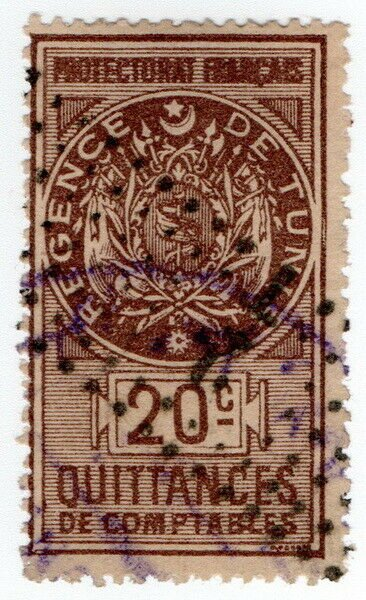 (I.B) France Colonial Revenue : Tunisia Receipt 20c