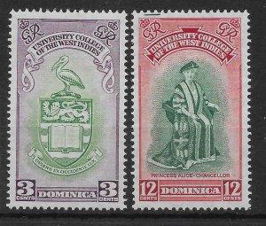 DOMINICA SG118/9 1951 BWI UNIVERSITY SET MTD MINT