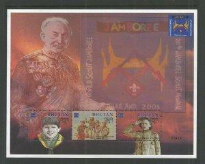 2002 Bhutan Boy Scout World Jamboree ms3 Baden Powell