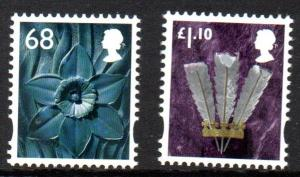 Great Britain Wales 38-9 2011  Daffodil & Feathers stamp set mint NH