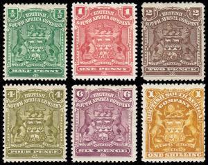 Rhodesia  Scott 59-61, 64-66 (1898-1908) Mint H VF, CV $73.50