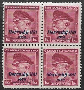 SLOVAKIA 1939 1k Overprinted President Masaryk Issue Block of 4 Sc 12 MNH