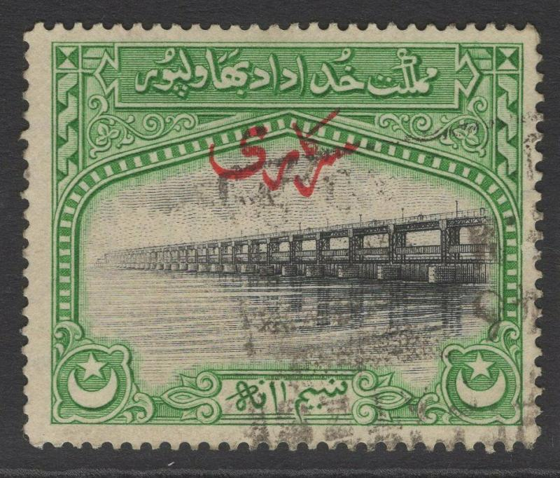 PAKISTAN-BAHAWALPUR SGO1 1945 ½a BLACK & GREEN FINE USED