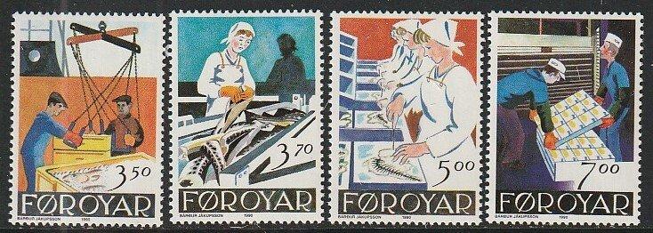 1990 Faroe Islands - Sc 201-4 - MNH VF - 4 single - Fish Factory