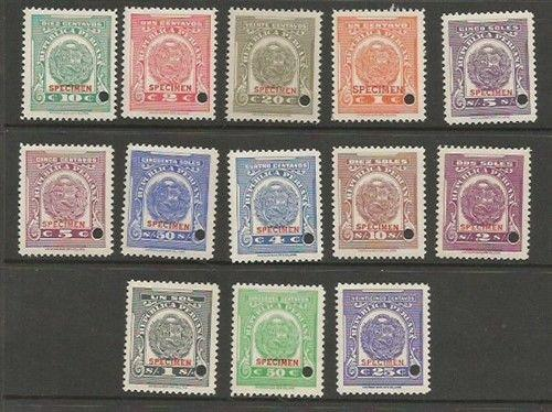 Peru MNH. 13 diff Coat of Arms Revenues SPECIMENS