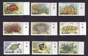 Barbados-Sc#642b-9b-unused NH set-Marine Life-Turtles-Fish-1986-