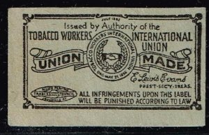 US STAMP TOBACCO WORKER'S UNION MADE LABEL STAMP