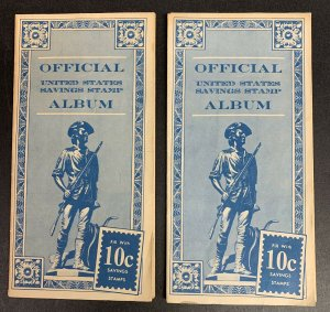Lot of 2 Official Savings Stamp Albums,10c Minuteman, 94 Stamps, Scott #S1